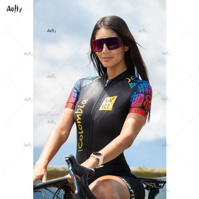 Kafitt equipe colômbia 2020 preto masculino feminino ciclismo terno sexy macacão feminino umidade wicking triathlon skinsuit uv reflexivo 2