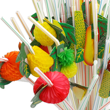 50pcs/lot 24cm 3D Party Straw Multicolor Fruit Plastic Cocktail Drinking Hawaiian Decoration drink decor