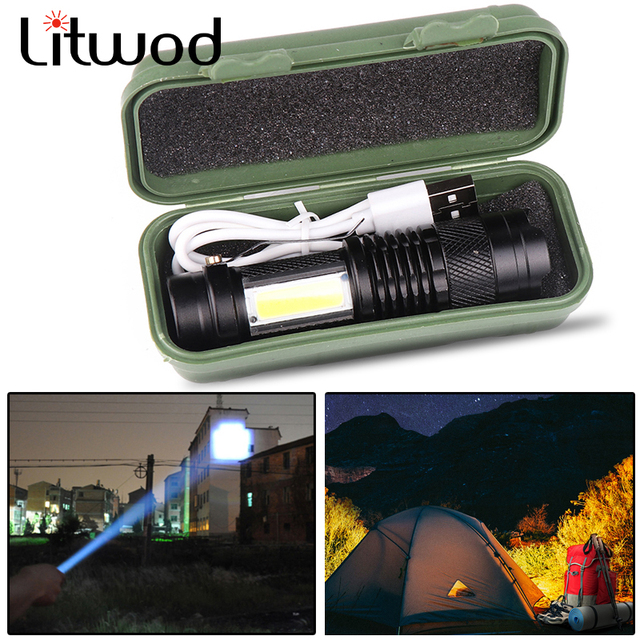 Newest Design XP-G Q5 Built in Battery USB Charging Flashlight COB LED Zoomable Waterproof Tactical Torch Lamp LED Bulbs Litwod 1