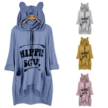 2019 Autumn and Winter Hooded Loose T-shirt Large Size Womens Irregular Tops Cotton Short Sleeve Outdoor Sports