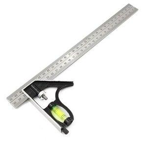 Regla de Ángulo Cuadrado de combinación ajustable de 300mm 45 / 90 grados con herramientas de medición de calibre multifuncional de nivel de burbuja