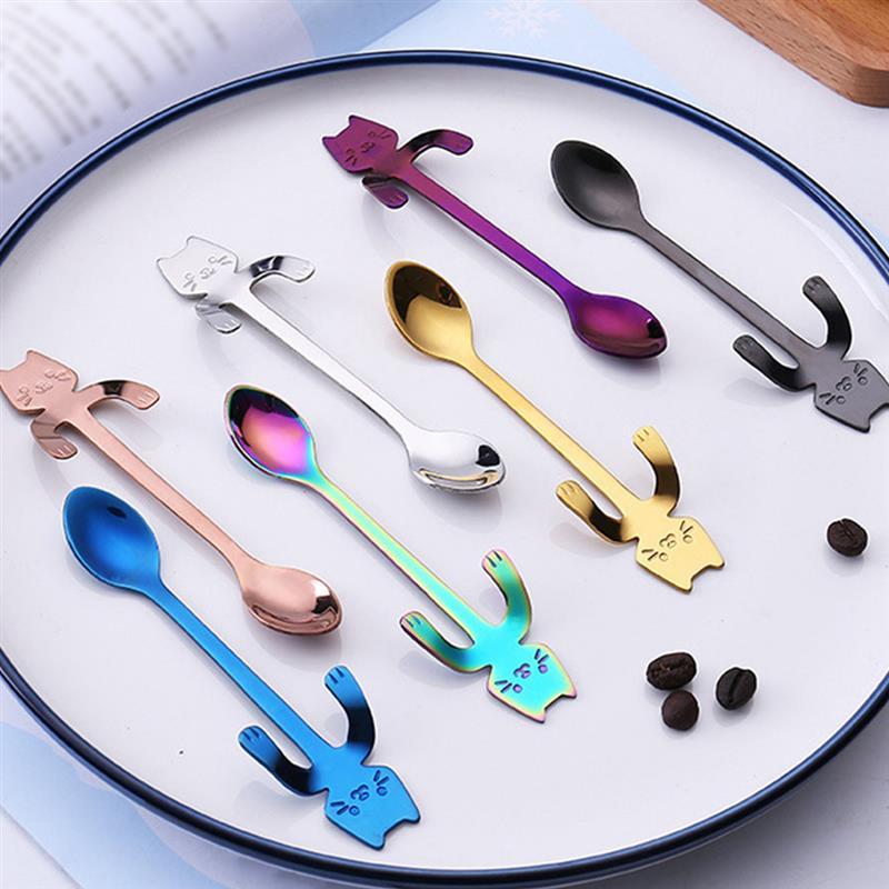 1pcs Hanging Cat Coffee Spoons Stainless Steel Tea Stirring Spoons Set Sugar Ice Cream Mug Dessert Spoon Drink Tableware
