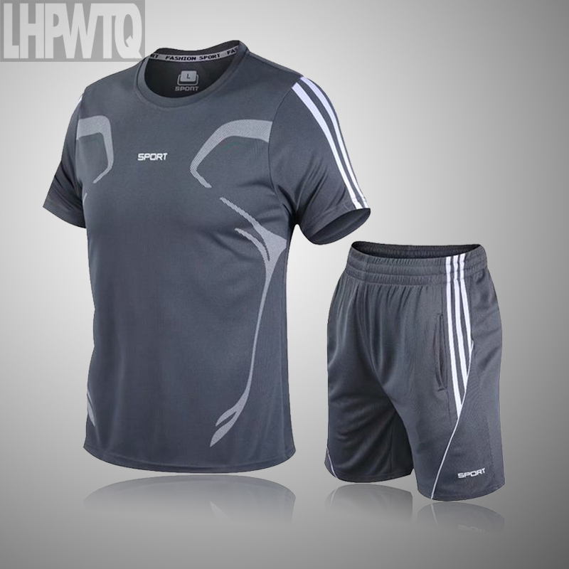 Brand Men's Sportswear Kit Short Sleeve Sports Sport Shirt Men Running 2pcs Suit For Soccer Gym Fitness Men T-Shirts+Shorts Sets 4