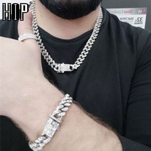 Hip Hop Iced Out Paved Rhinestones 1Set 13MM Gold Full Miami Curb Cuban Chain CZ Bling Rapper Necklaces For Men Jewelry