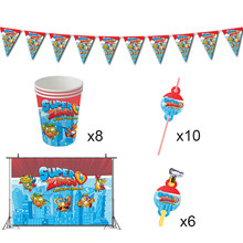 Superzings decorações de festa de aniversário jogo super zings tema favores supplys banner copos palhas