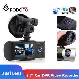 "Image 1 - Podofo كاميرا داش جديدة 2.7 ""كاميرا سيارة DVR كاميرا فيديو مسجل داش كام G الاستشعار GPS عدسة مزدوجة كاميرا X3000 R300 سيارة DVRs"