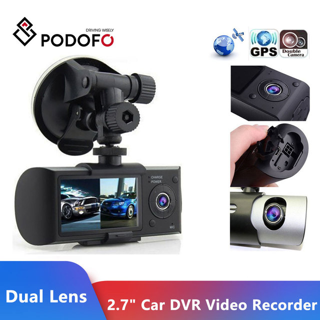"Podofo كاميرا داش جديدة 2.7 ""كاميرا سيارة DVR كاميرا فيديو مسجل داش كام G الاستشعار GPS عدسة مزدوجة كاميرا X3000 R300 سيارة DVRs"