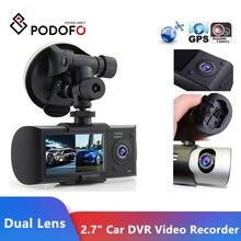"""Podofo câmera de ré de 2.7 """", veículo, dvr, gravador de vídeo, sensor g, gps, lente dupla câmera x3000 r300 dvrs automóveis"""