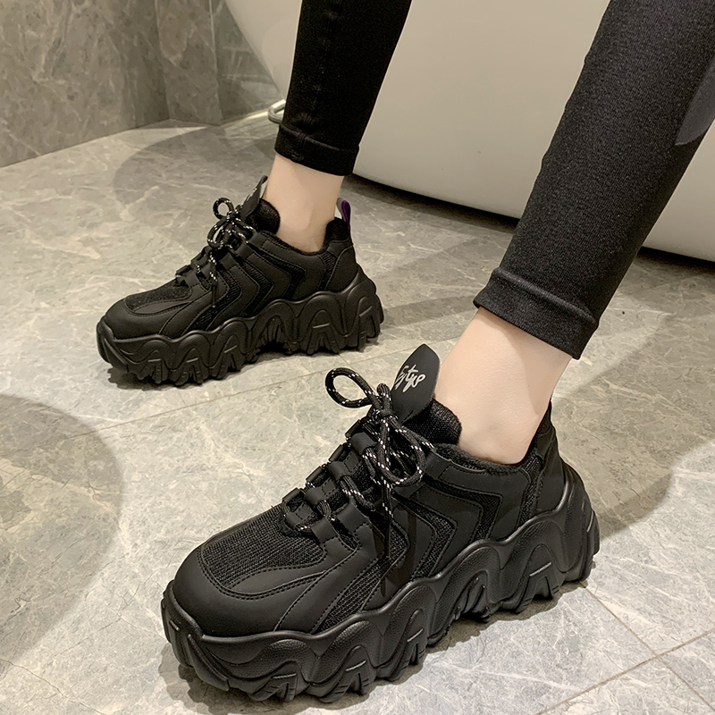 Shoes Women Leather Casual Fashion Dad Chunky Platform Sneakers Ladies Plush Lace-up Warm With Fur Winter Black Footwea Female