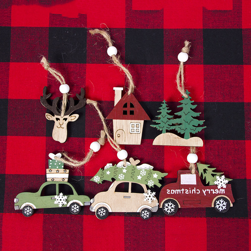 creative Pendant Shop Christmas Cabin Creative Wooden Deer Car House Tree Attractive DIY craft home party ornament supplies image