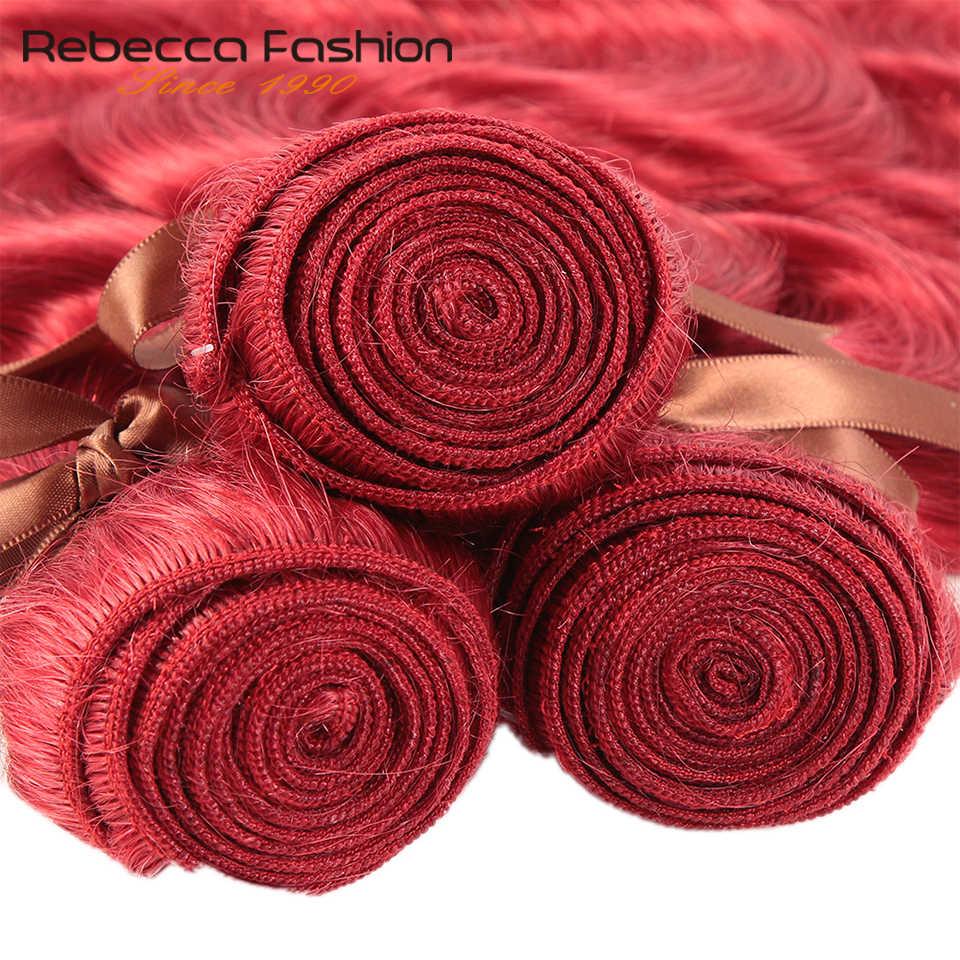 Rebecca Red Bundles With Closure Brazilian Body Wave Human Hair Red 3 Bundles With Closure Remy