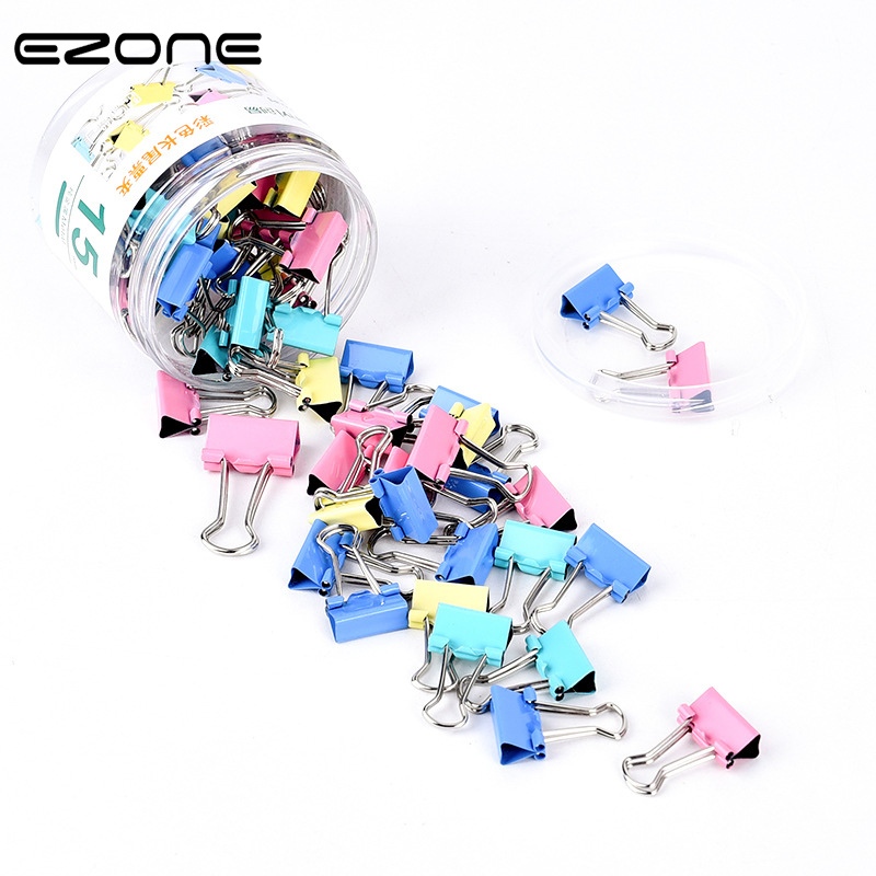 EZONE 20PCS Metal Binder Clips Black Paper Clips 15/19mm Black Colorful Home Office Books File Paper Organizer Clip Food Clips