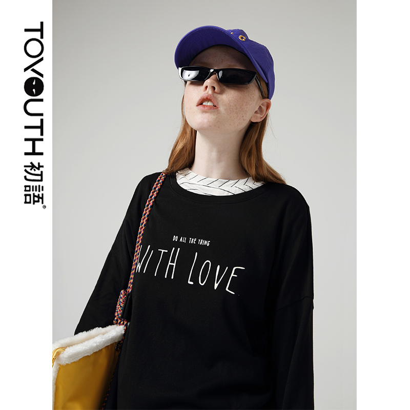 Toyouth Boyfriend Style T-shirts For Women Lettern Printed O Neck Collar Long Sleeve Solid Casual Tee Shirt Female Tops