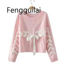 Winter Sweater Women Turtleneck Knitted Sweet Pink Bowknot Pullover Warm Thicken Long Sleeve