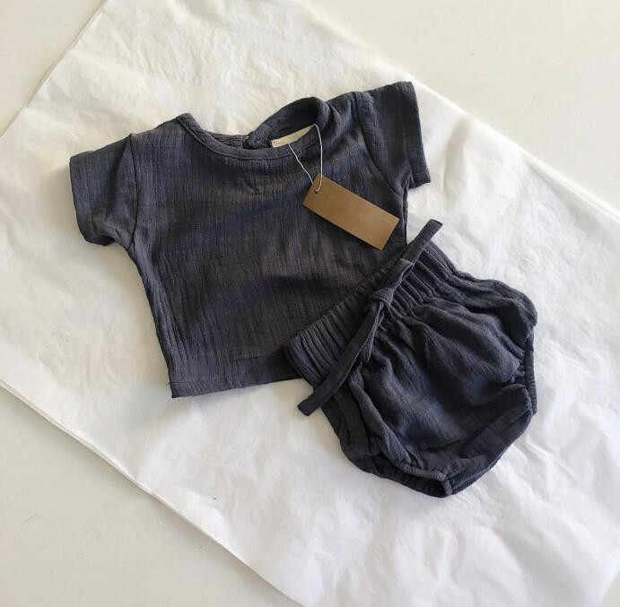 2019 linen casual sets Tops+shorts cute baby toddler clothing sets baby linen short sleeve pp Hot pants Two-piece set baby