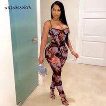 Anjam12v moda impressão sheer malha calças conjunto clubwear ver através do macacão feminino duas peças outfits bodysuit leggings D57-CD18