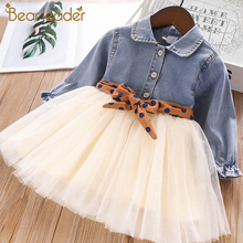 Bear Leader Girls Dress Autumn Party Dresses Jean Mesh Princess Dress for Girl Kids Dress With Sashes Spring Children Clothing w l monsoon baby girls dress with sashes 2017 autumn brand princess dress girls clothing flower kids dresses children clothes