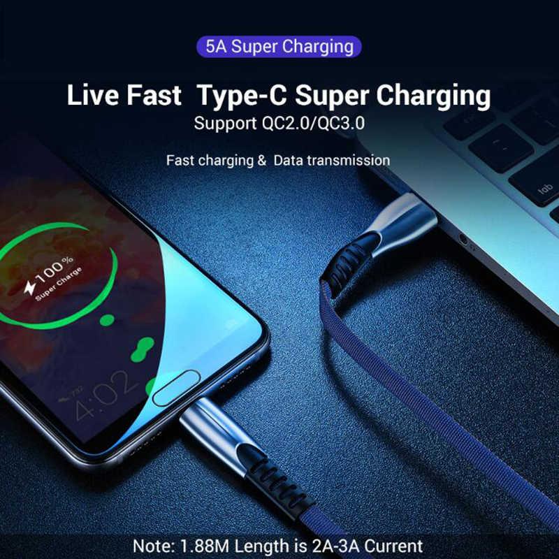 USB typu C C kabel nowy pleciony Nylon szybkie ładowanie dla Huawei P10 P20 Lite Pro 5A szybki kabel ładowania do samsung galaxy s9 s8 plus