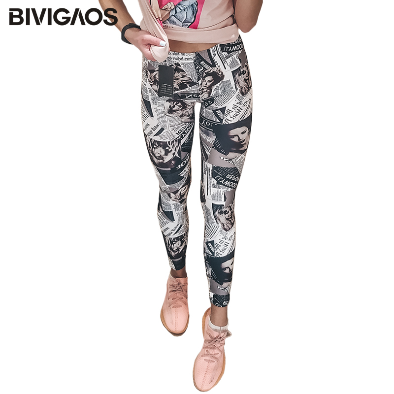 BIVIGAOS Fashion Newspaper Belle Black White Digital Printed Graffiti Flowers Leggings Pants  Elastic Leggings Trousers Women