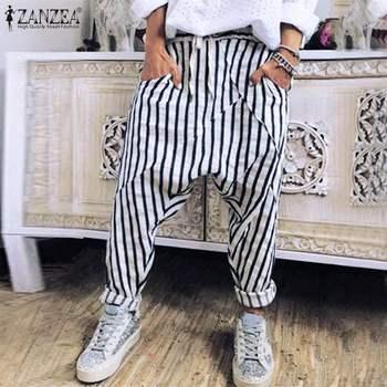¡Moda Otoño 2020! Pantalones Cargo con cordones, moda ZANZEA, pantalones de nabo a rayas, pantalones informales de cintura elástica largos, ropa de calle