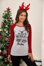 2019 Autumn Women T-shirts Sexy Slim Long Sleeve Christmas Shirts Tops Print T-Shirt O-Neck Funny T Shirts Plus Size Clothes цена и фото