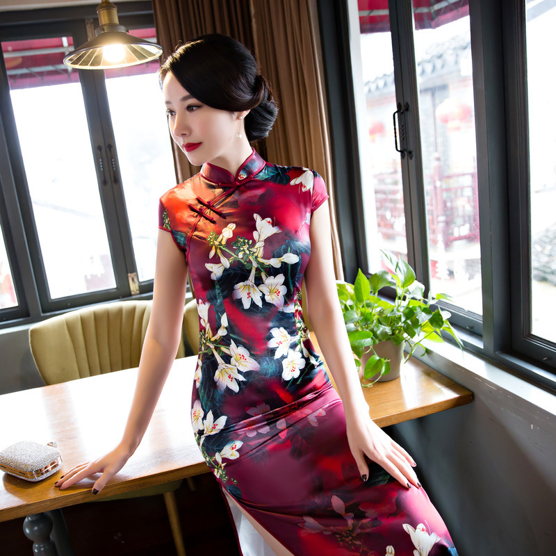 Cheongsam Women's Summer 2019 New Nian Qing Kuan GIRL'S Chinese-style Modified Catwalks Costume Dress Long