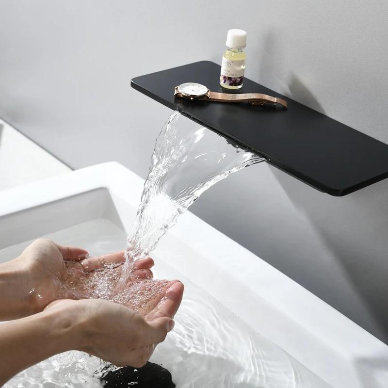 Black Wall Mount Basin Faucet Single Handle Mixer Tap Bathroom Waterfall BRASS