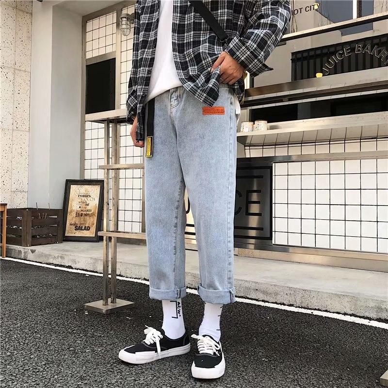 Jeans Men's Popular Brand INS Straight-Cut Harajuku Wind BOY'S Pants Autumn Korean-style Trend Versatile Loose-Fit Loose Pants