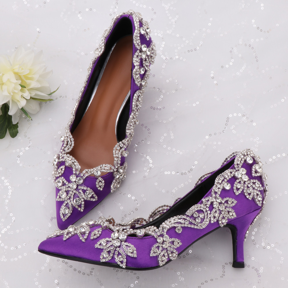 Party Shoes Diamond Floral Decorations Handmade High Heel Shoes Purple Satin Surface Luxury Banquet Annual General Meeting Shoes