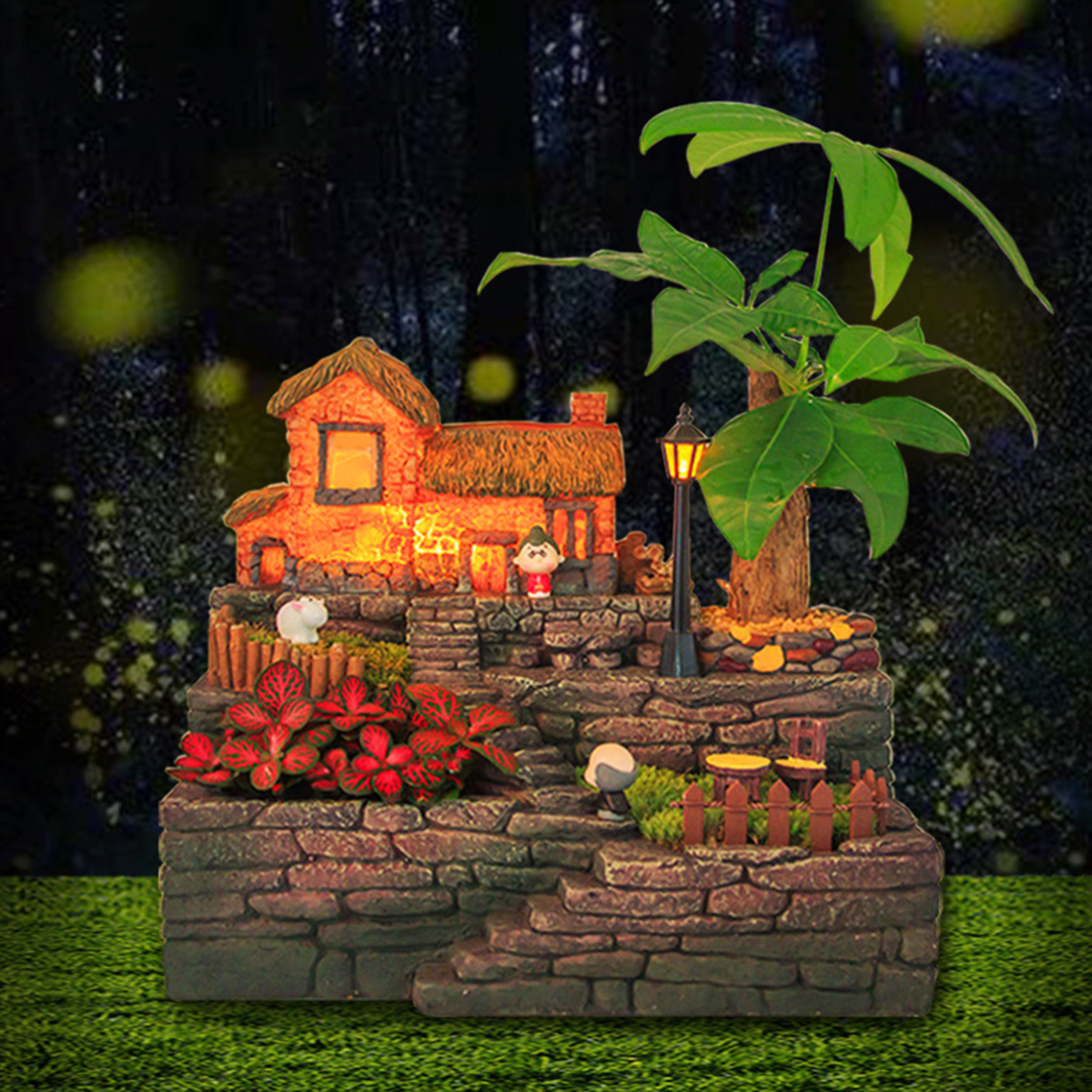 Creativo pastoral cama de flores de resina maceta suculenta caja bonsái lecho de planta con maceta de luz provincia - 5