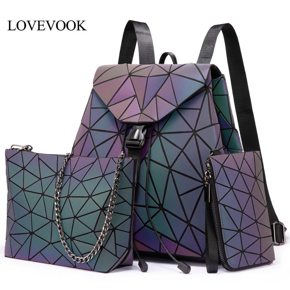 Lovevook Women Backpack Purse Schoolbag Geometric-Bag Crossbody-Bag Foldable Luminous-Color