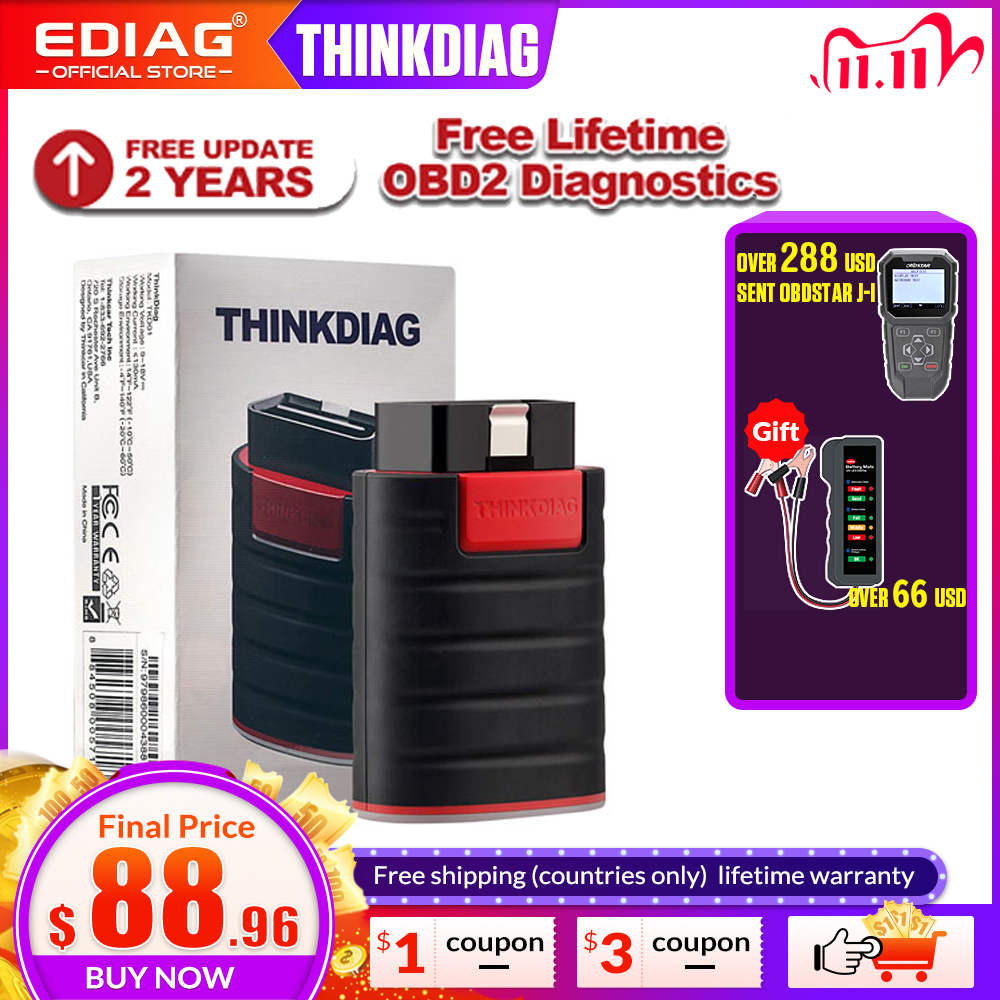 Thinkdiag full system OBDII Scanner Diagnostic Tool 15 reset services Code Reader extension cable OBD2 PK AP200 easydiag golo