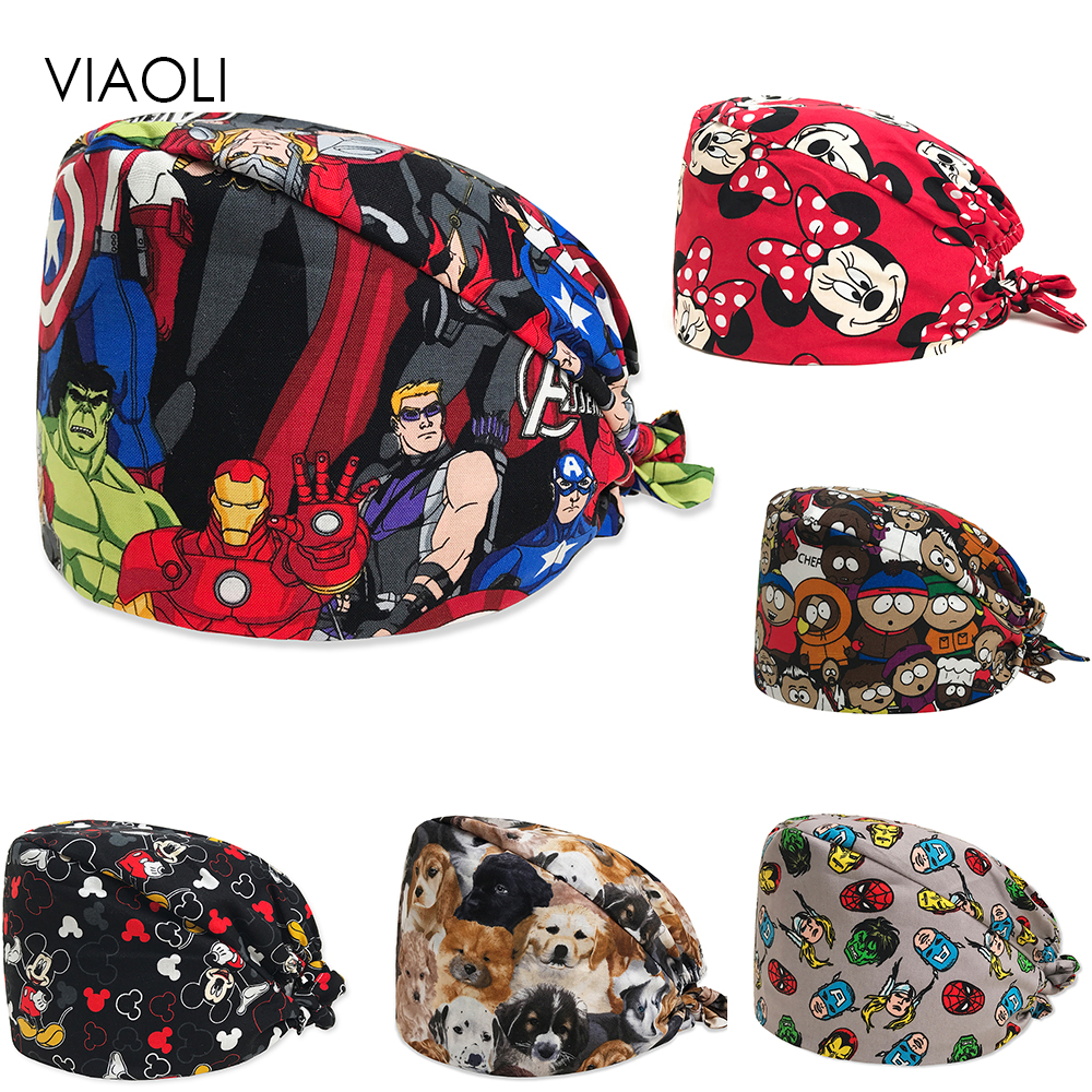 New Medical Cap European And American Printing Surgical Cap Doctor Nurse Work Cap 100%Cotton Fashion Breathable Men's Mickey Cap