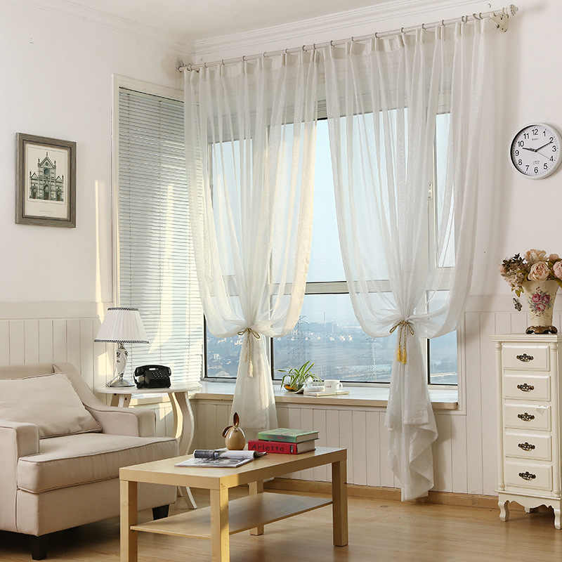 Pure White Window Screen Sheer Fabric Simple Modern Shiny Silver Wire Stripe Tulle  Curtain for Living Room Bedroom M135-50