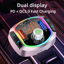 CDEN FM transmitter car MP3 player Bluetooth 5.0 receiver usb-c car charger QC3.0 PD18w fast charging music player ambience lamp