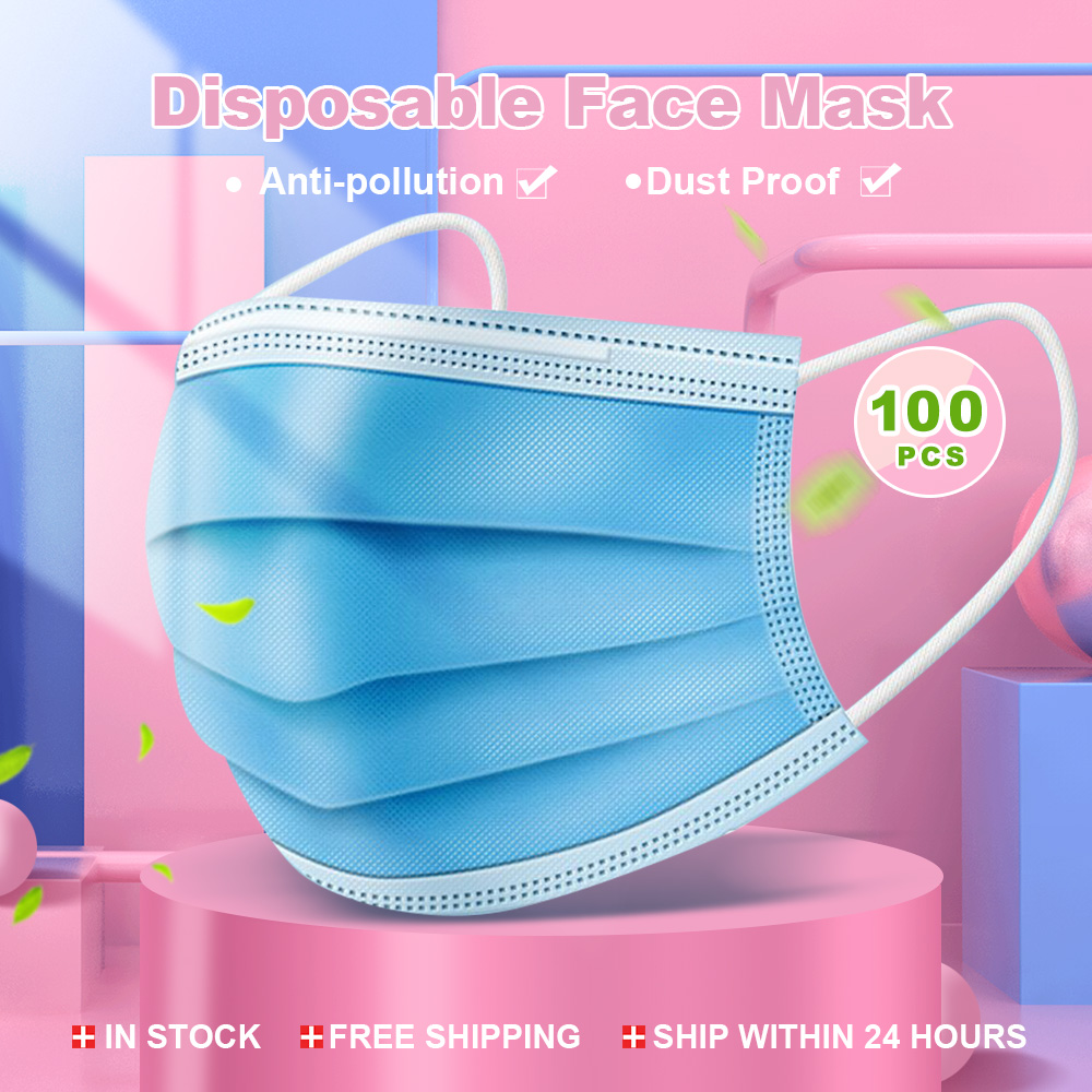 50Pcs/100pcs Mask Disposable Nonwove 3 Layer Ply Filter Mask Mouth Face Mask Filter Safe Breathable Protective Masks