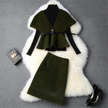Top Quality Women's Runway Set 2019 Autumn Winter Party Outfits Long Sleeve Base Knit Top+Vest+Woolen Skirt 3Pcs Clothing Sets