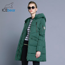 ICEbear 2019 100% Polyester Soft Fabric Bio Down Five Colors Hooded Coat Woman Clothes Winter Jacket With Pockets 16G6155D(China)