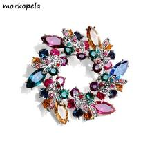 Morkopela, брошь с большим цветком и кристаллами для женщин, модная брошь на булавке, букет из горного хрусталя, броши и заколки на шарф, ювелирное изделие