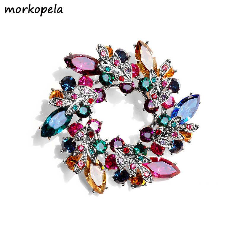 Morkopela Besar Bunga Kristal Bros untuk Wanita Fashion Bros Pin Bouquet Rhinestone Bros dan Pin Syal Klip Perhiasan