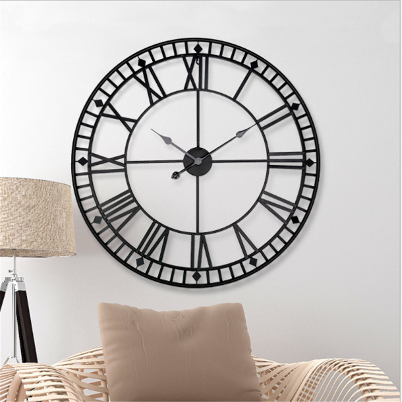 Nordic style retro wall clock big home clocks creative wrought iron design hanging clock decoration for living room hotel silent