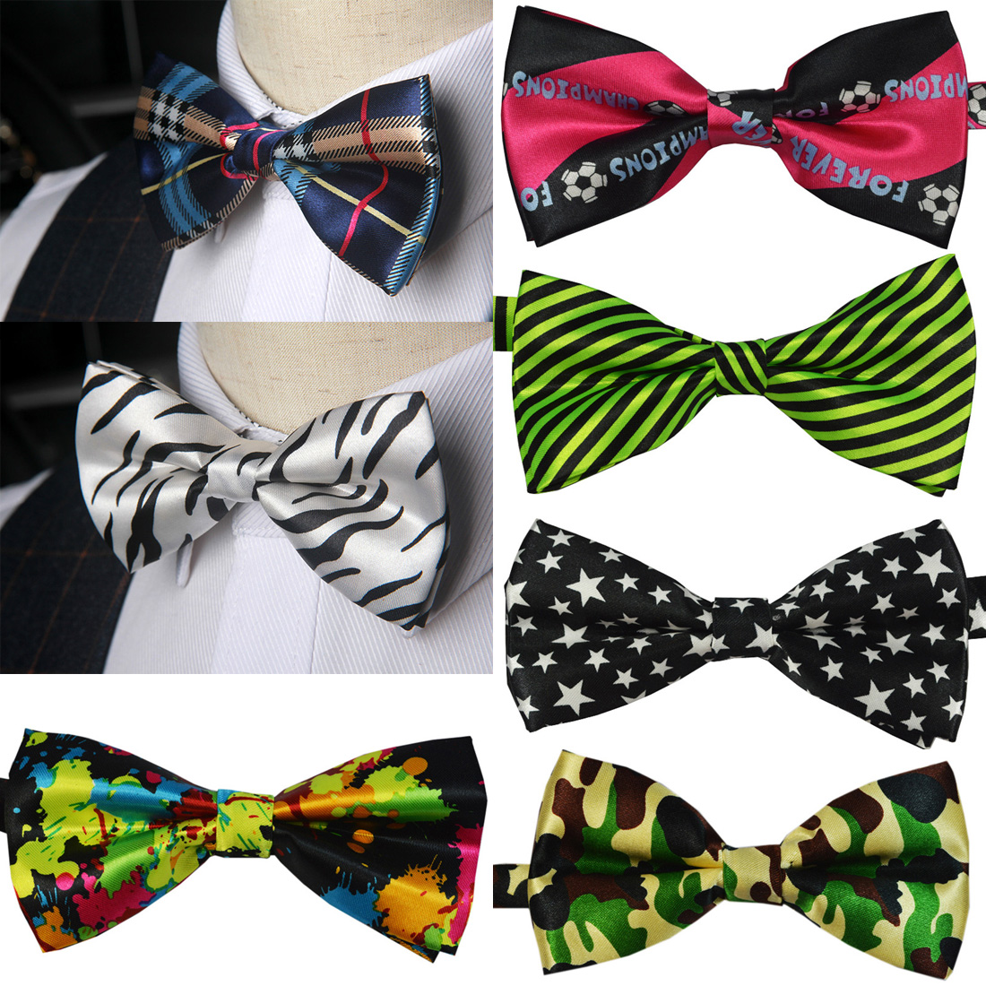 2019 New Men's Bow Tie Men's Wedding Print Bow Tie Party Bar Party Casual Style Lattice Bow Tie Fashion Trend Men's Accessories