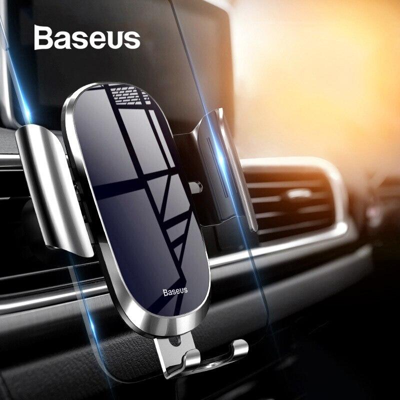 Soporte de teléfono Baseus para coche para iPhone Samsung soporte de teléfono móvil soporte de ventilación de gravedad de Metal soporte de teléfono móvil GPS en coche