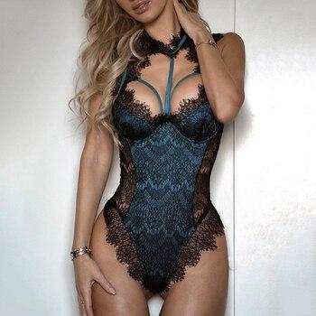 Porno Sexy Lingerie Women Bodysuit Lace Catsuit Hot Erotic Female Bandage Underwear G-string Babydol