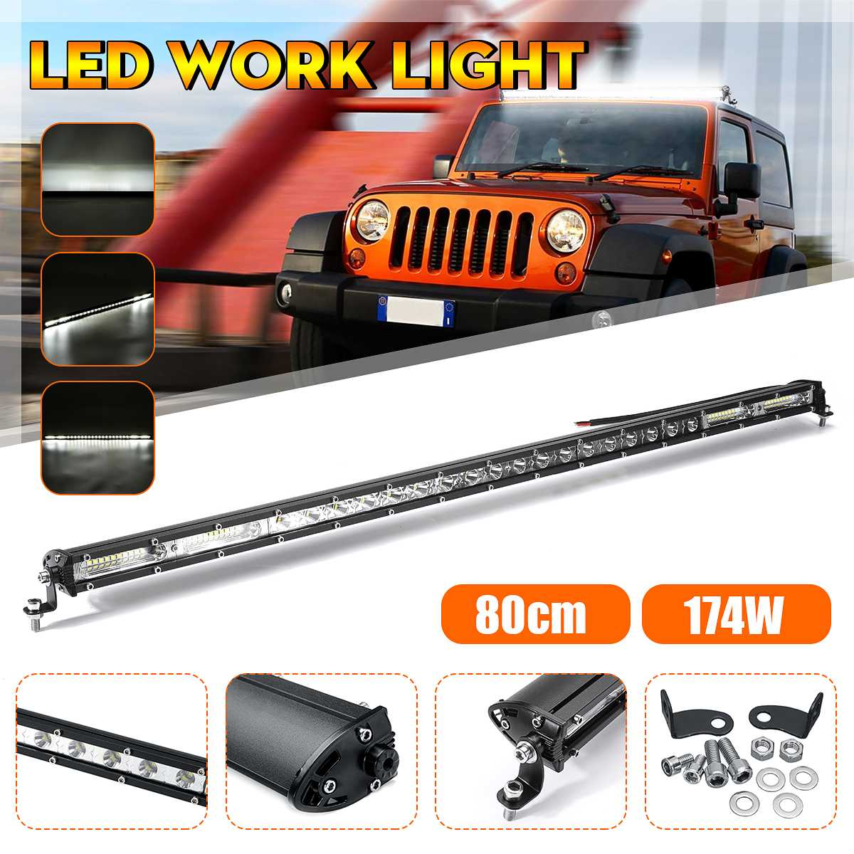 <font><b>80cm</b></font> 10-30V <font><b>LED</b></font> Work Light Bar Spot Combo Pods Driving For Car Off-Road ATV image