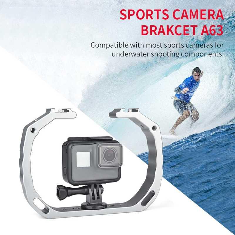 A63 Алюминий сплав спортивные Камера кронштейн двойной держатель вспышки типа «Горячий башмак» с ручкой для GoPro Hero5/4/3