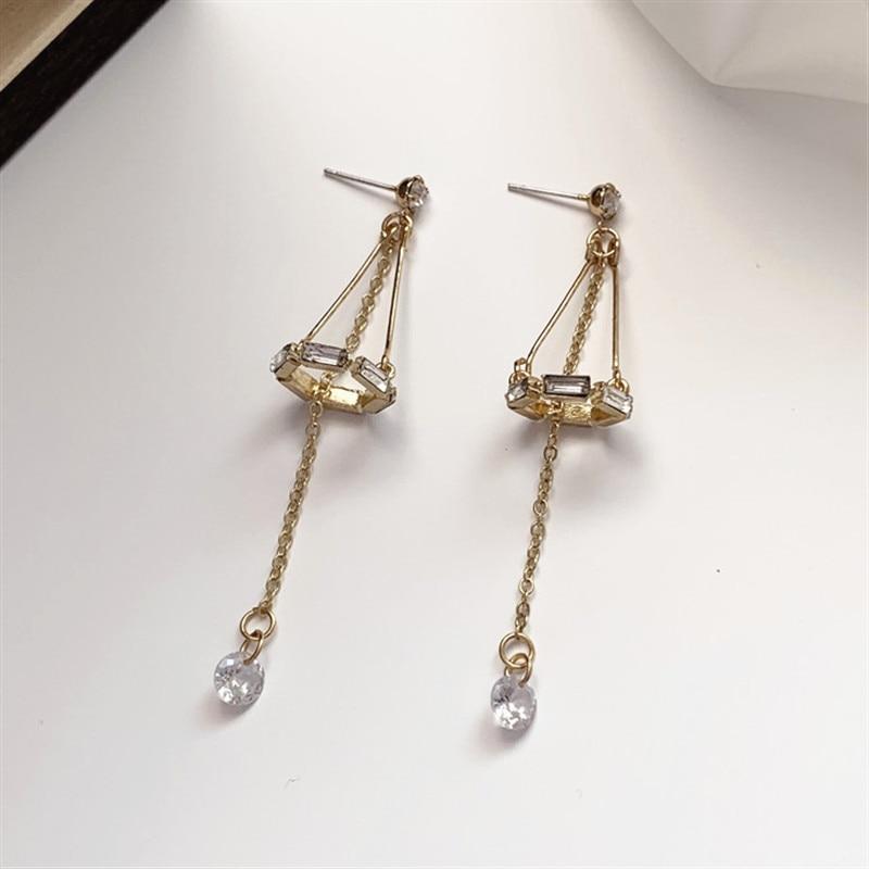 2020 Luxury Geometric Crystal Zircon Earrings Drop Dangle Ear Stud Women Jewelry