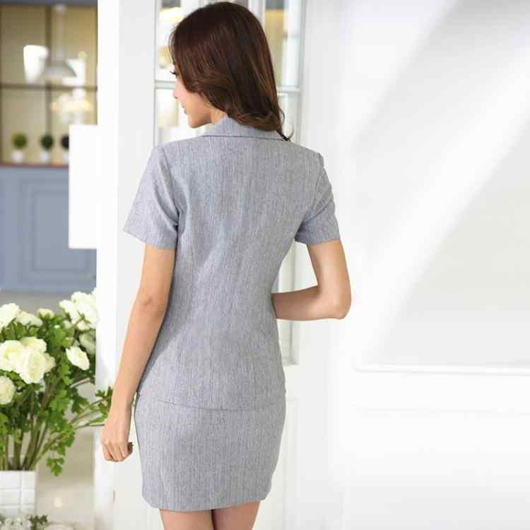 Biznes damskie kostiumy ze spódnicą kobiety garnitury biurowe formalny strój do pracy biurowa, damska spódnica garnitur 2 sztuk ubranie biurowe Blazer zestaw spódnic