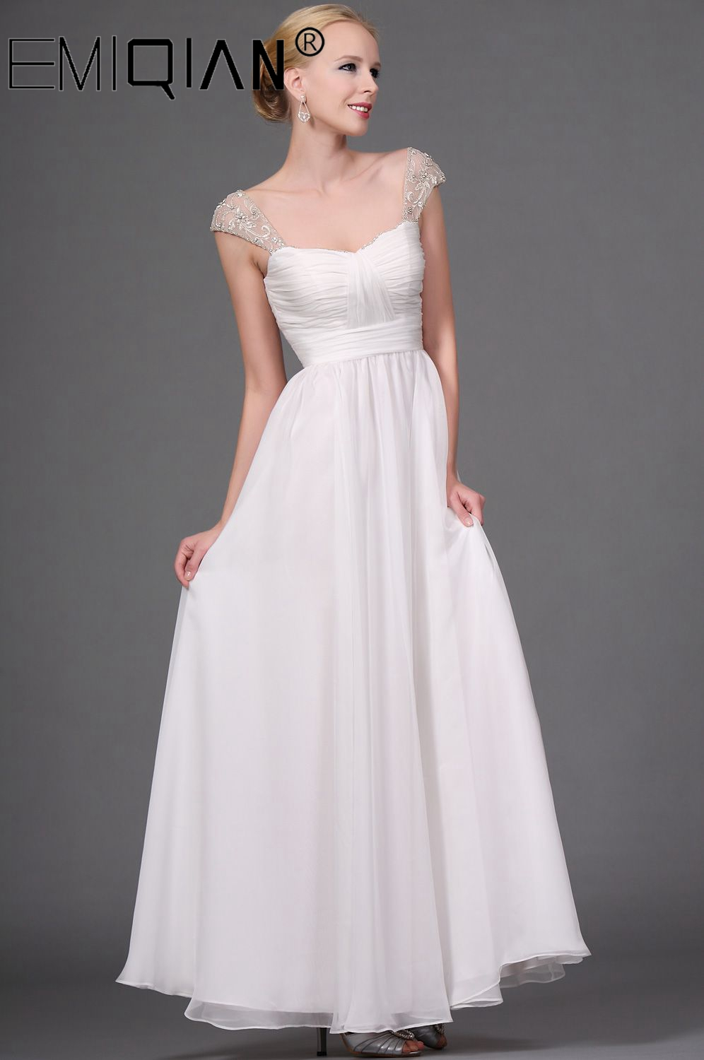 A Line Wedding Dress White/Ivory Chiffon Bridal Gown Woman Vestidos De Novia Plus Size Robe De Mariee