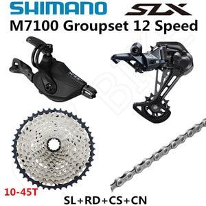 Image 2 - SHIMANO DEORE SLX M7100 Groupset MTB dağ bisikleti 1x12 Speed 45T 51T SL + RD + CS + hg abs m7100 shifter arka attırıcı